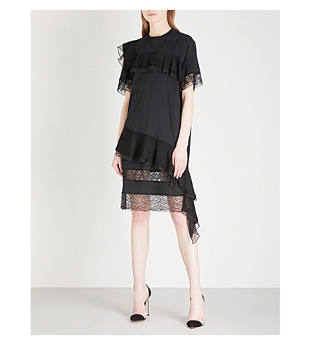 GIVENCHY Lace-panel ruffled cotton dress (Black