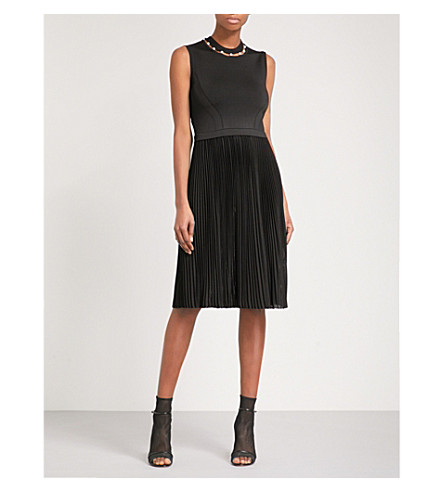 GIVENCHY Cutout-neck fit-and-flare woven dress (Black