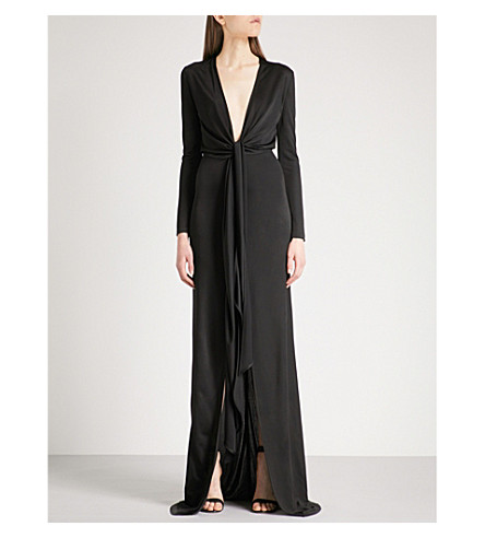 GIVENCHY Self-tie V-neck fitted woven gown (Black