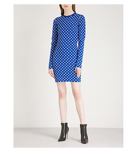 GIVENCHY Star-patterned stretch-knit dress (Electric+blue