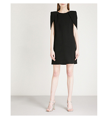 GIVENCHY Caped wool-crepe mini dress (Black