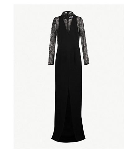 GIVENCHY 闪光点缀的羊毛和蕾丝礼服 (黑色