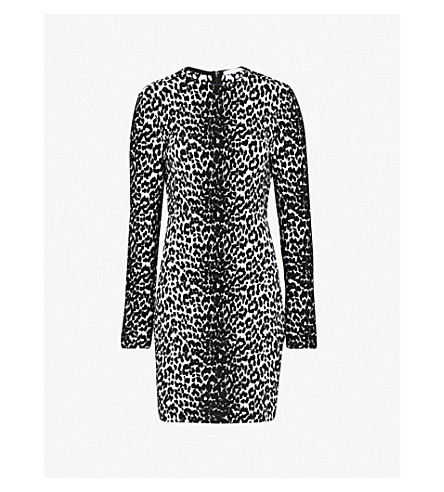 GIVENCHY Leopard-pattern stretch-knit mini dress (Leopard+black