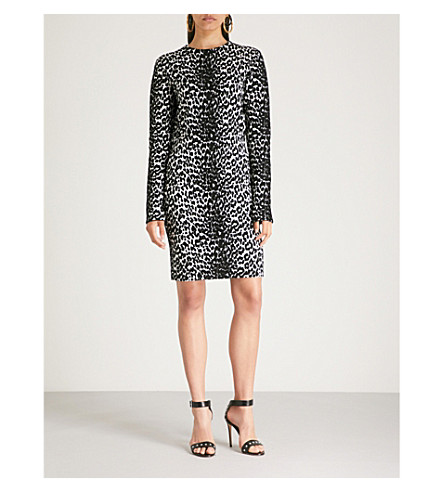 GIVENCHY Leopard-pattern stretch-knit mini dress (Leopard+black