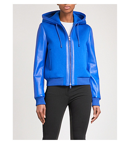 GIVENCHY Leather-sleeve hooded neoprene jacket (Electric+blue