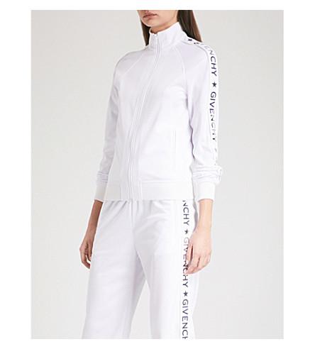 GIVENCHY Metallic logo-print stretch-jersey jacket (White
