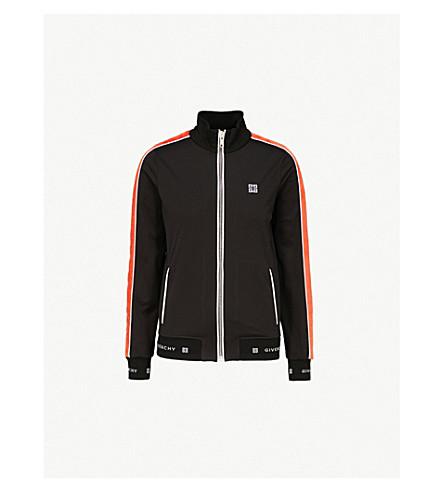 GIVENCHY 标识刺绣平纹针织面料夹克 (黑色/橙色