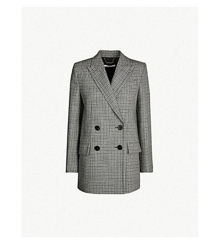 GIVENCHY Checked double-breasted wool jacket (Black natural