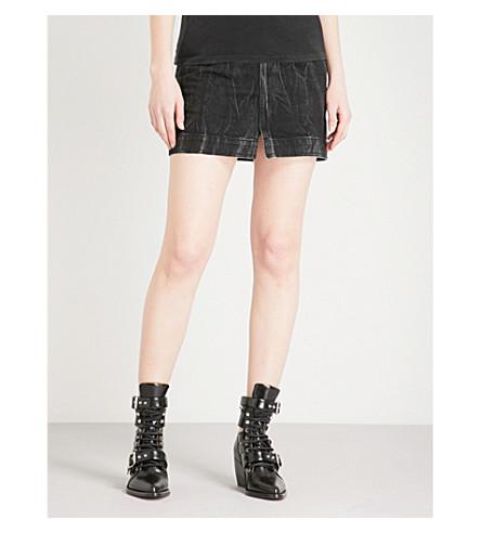 GIVENCHY Faded high-rise denim mini skirt (Black