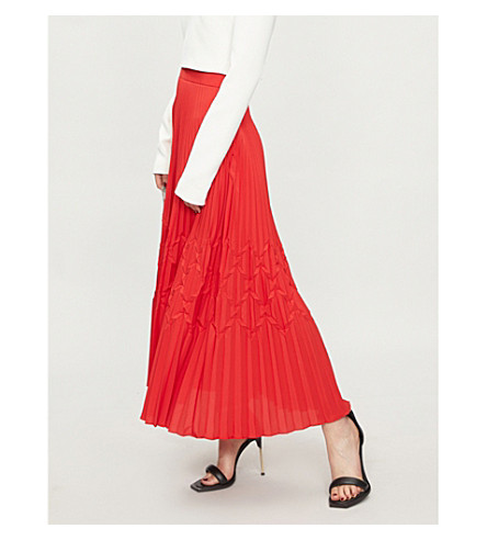 GIVENCHY Geometric-creased crepe skirt (Red