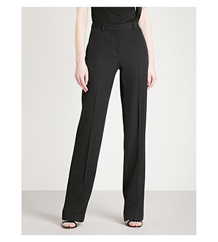 GIVENCHY Loose-fit straight mid-rise wool trousers (Black
