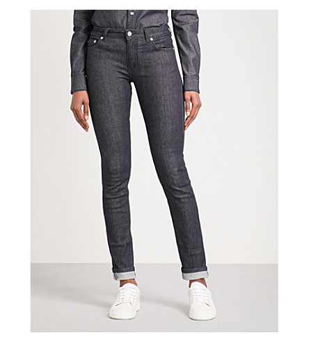 GIVENCHY Logo-print skinny mid-rise jeans (Indigo+blue