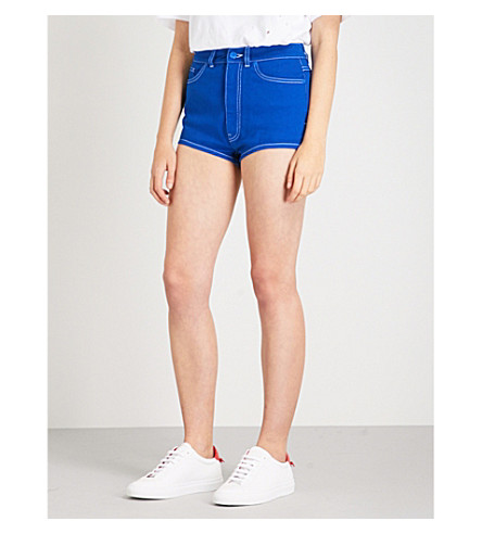 GIVENCHY Logo-embroidered high-rise denim shorts (Electric+blue