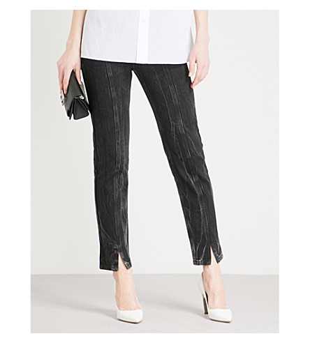 GIVENCHY Faded straight cropped high-rise jeans (Black