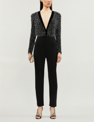 Plunge V-neck relaxed-fit wool and silk-blend jumpsuit