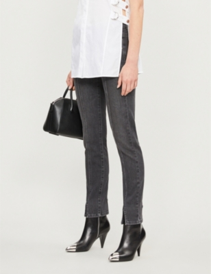 Faded skinny mid-rise jeans