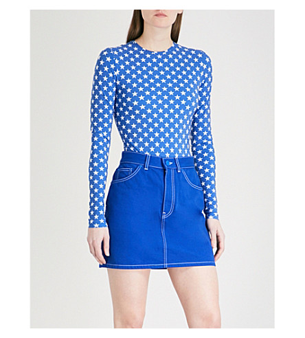 GIVENCHY Star-print stretch-jersey body (Electric+blue