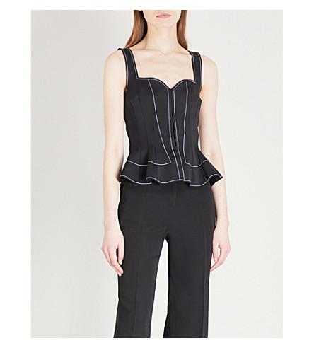 GIVENCHY Sweetheart sleeveless woven corset top (Black
