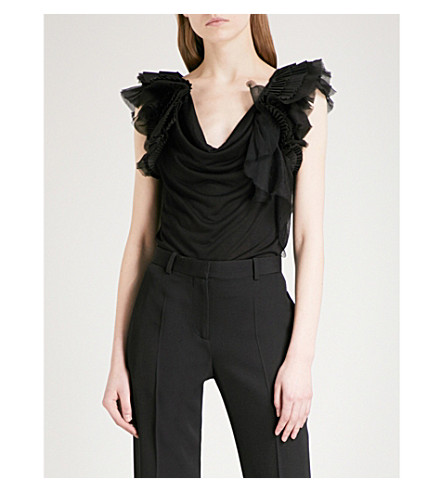 GIVENCHY Ruffled sleeveless woven top (Black