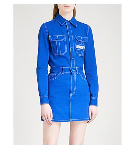 GIVENCHY Logo-embroidered stretch-denim shirt (Electric+blue