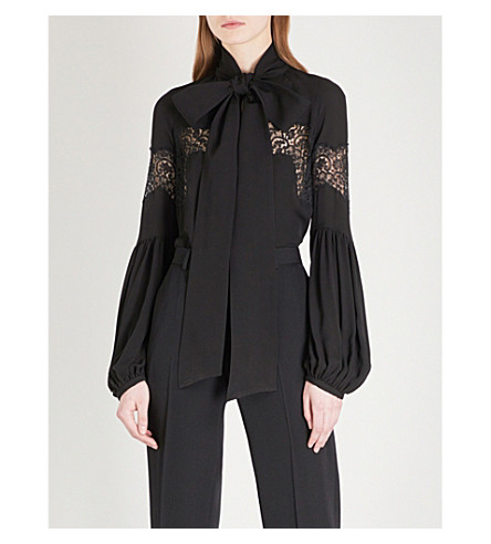 GIVENCHY Lace-panel balloon-sleeve silk blouse (Black