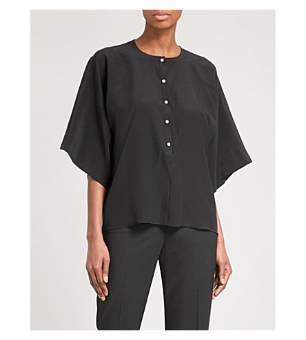 GIVENCHY Drop-shoulder silk-crepe shirt (Black