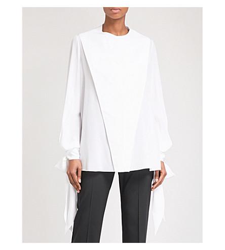 GIVENCHY Folded-panel silk-crepe shirt (White