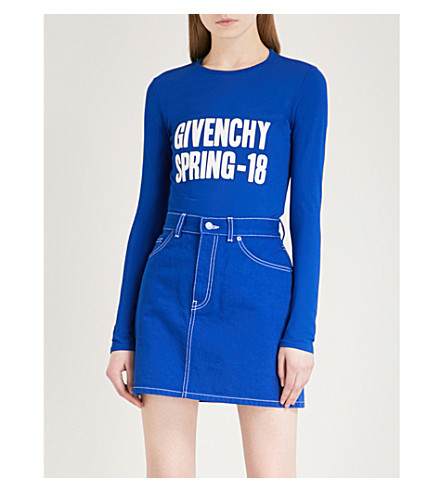 GIVENCHY Logo-print knitted jumper (Electric+blue