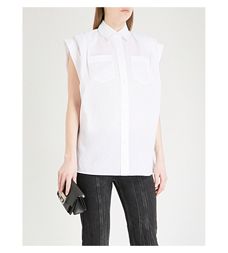 GIVENCHY Capped-sleeve cotton-poplin shirt (White