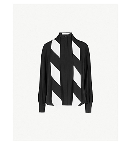 GIVENCHY Striped silk-crepe shirt (Black