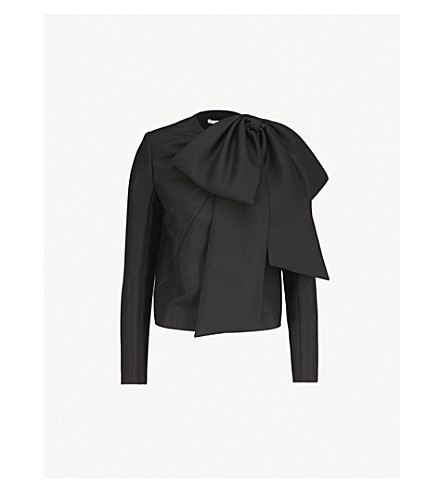GIVENCHY Oversized bow-trim mohair and wool-blend top (Black