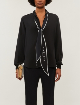 Self-tie logo-print silk-crepe shirt