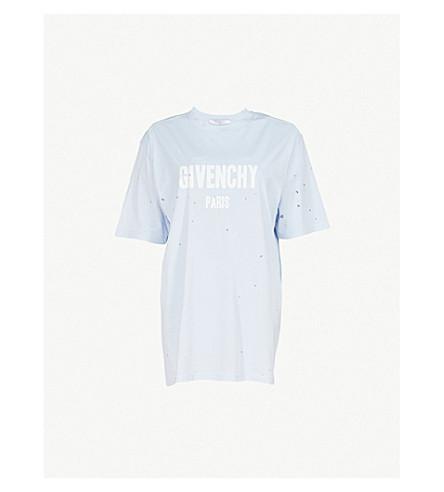 GIVENCHY Destroyed logo-print cotton T-shirt (Light+blue