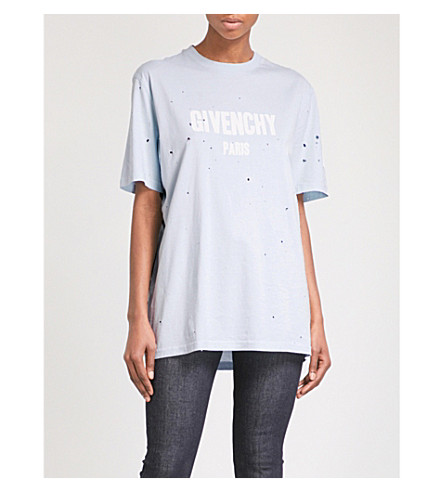 GIVENCHY Destroyed logo-print cotton T-shirt (Light+blue