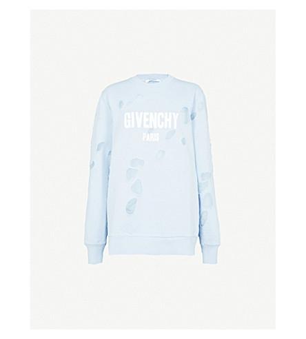 GIVENCHY Destroyed logo cotton-jersey sweatshirt (Light+blue