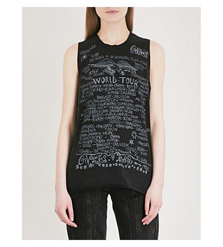 GIVENCHY Music logo-print cotton-jersey top (Black