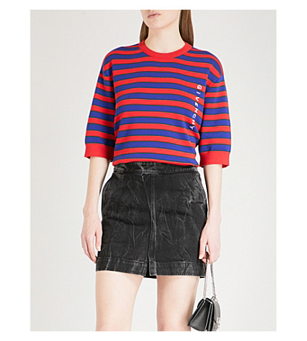 GIVENCHY Logo-embroidered striped cotton-blend T-shirt (Red/blue