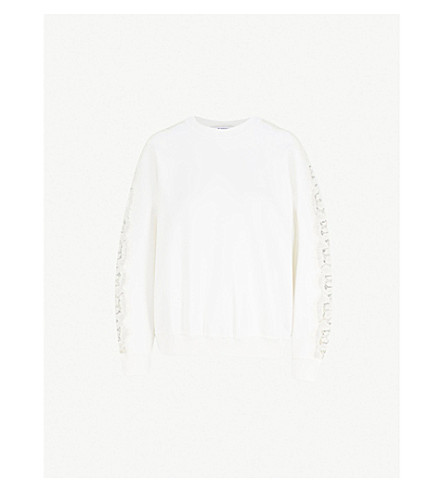 GIVENCHY Lace-panel wool-blend jumper (White