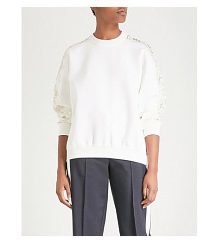 Blanco encaje paneles con de Jersey lana de GIVENCHY qx0Zpf0w
