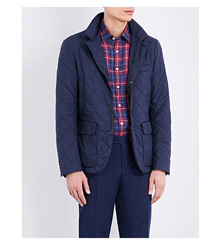 CANALI Leather-trimmed quilted jacket (Navy