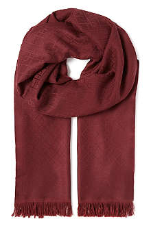 CANALI Wool two-sided logo scarf