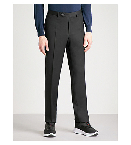 CANALI Regular-fit wool trousers (Black