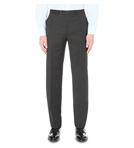 CANALI Regular-fit straight wool trousers (Grey