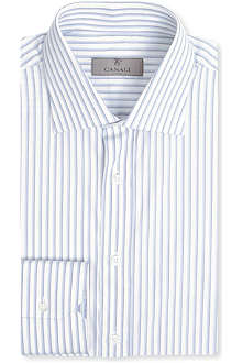 CANALI Vary stripe single-cuff shirt