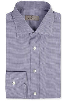 CANALI Micro dogtooth single-cuff shirt