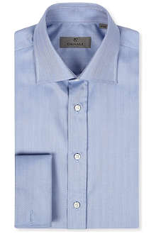 CANALI Herringbone regular-fit double-cuff shirt