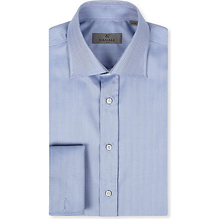 CANALI Herringbone regular-fit double-cuff shirt (Blue