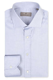 CANALI Micro-jacquard spread-collar single-cuff shirt