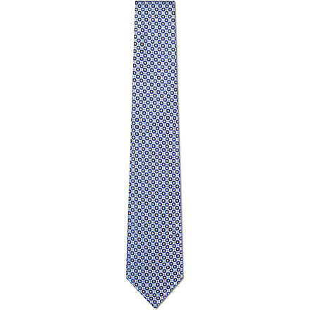 CANALI Stylised floral silk tie (Blue