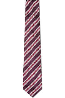 CANALI Textured stripe silk tie